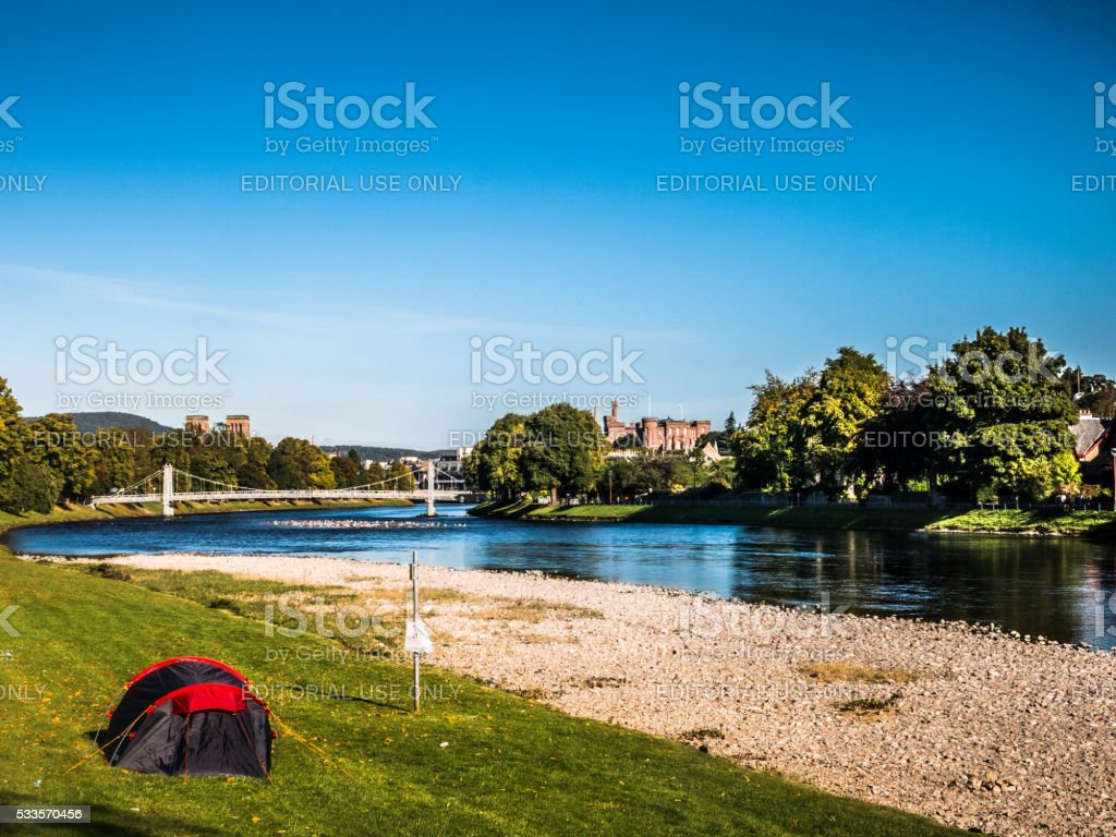 One Tent at River Ness, Inverness, Scotland stock photo