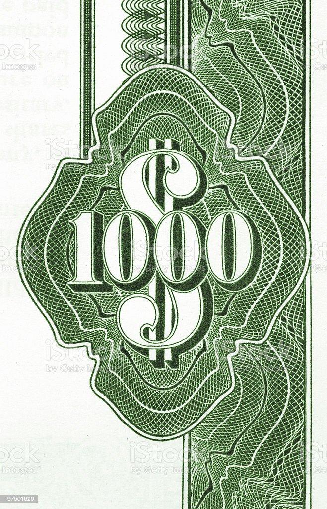 One thousand dollars royalty-free stock photo