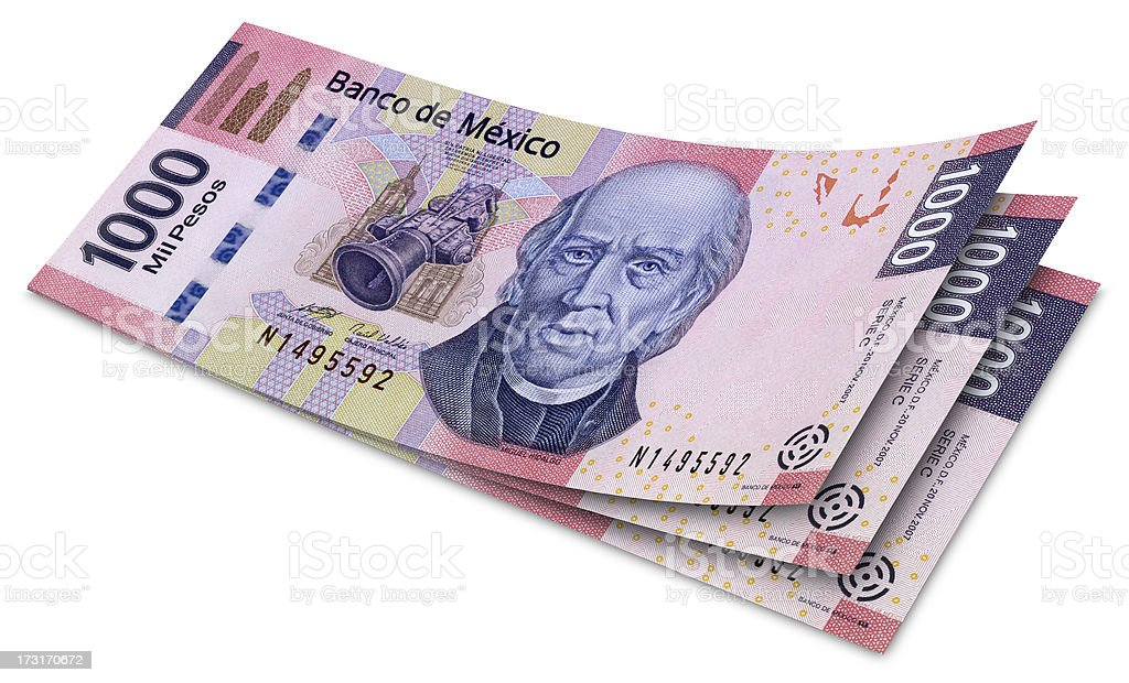 One Thousand Mexican Pesos Banknotes stock photo