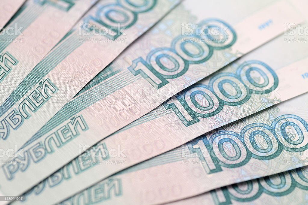 One Thousand Ruble Notes royalty-free stock photo