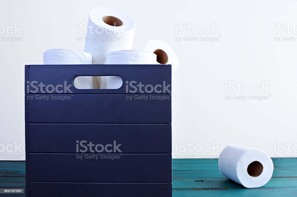 One toilet paper out of the toilet papers box stock photo
