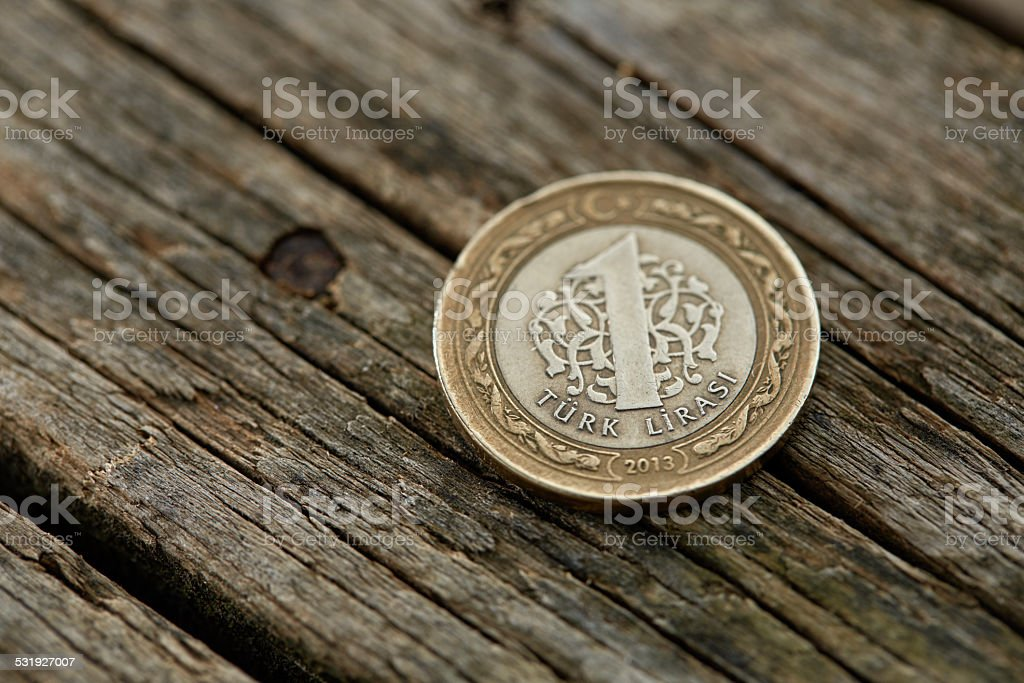 One Turkish Lira stock photo