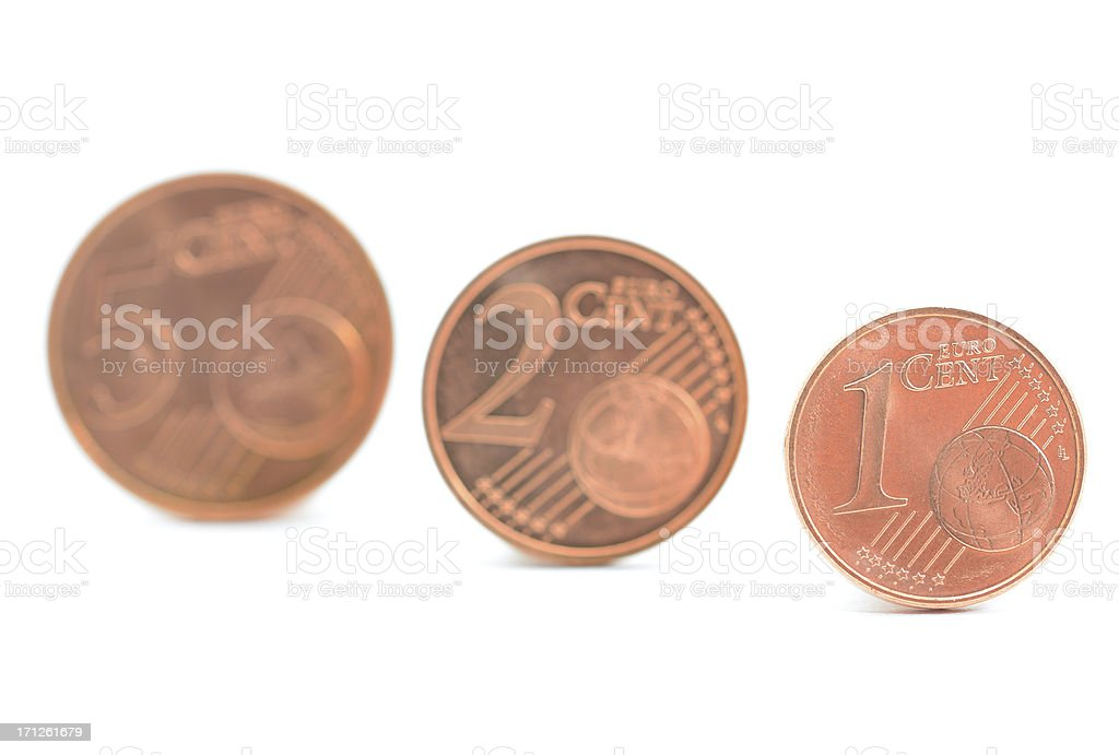 One, two and five euro cents on white background stock photo