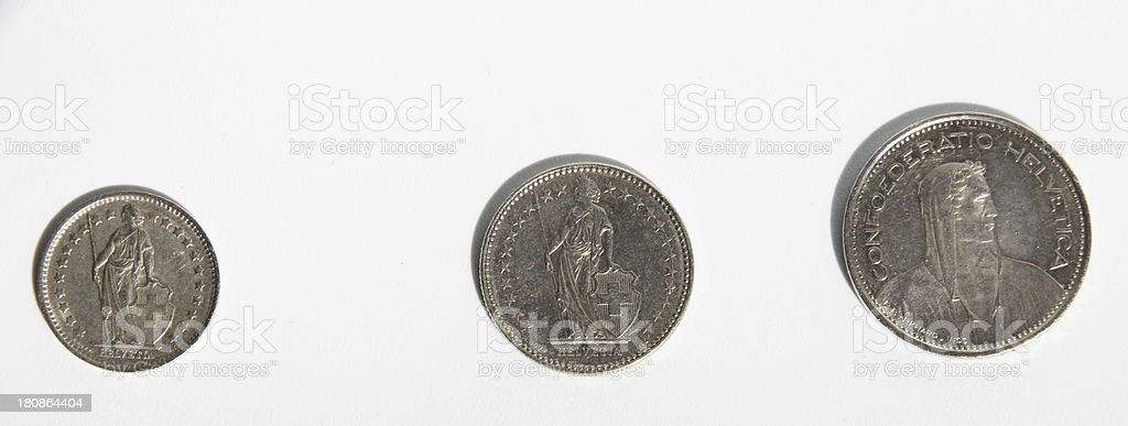 'one, two, five francs coin back' stock photo