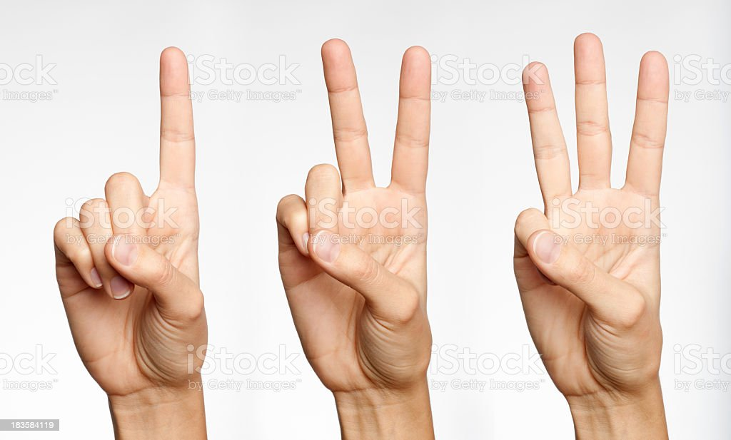 One, Two, Three - Counting with Fingers (XXXL) stock photo