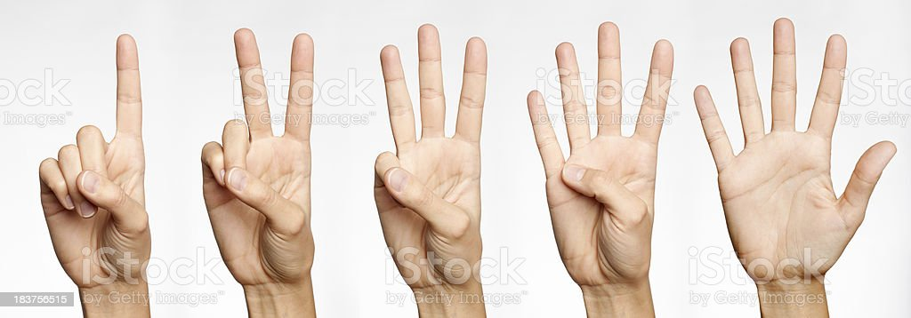 One, Two, Three, Four, Five - Counting with Fingers (XXXL) royalty-free stock photo