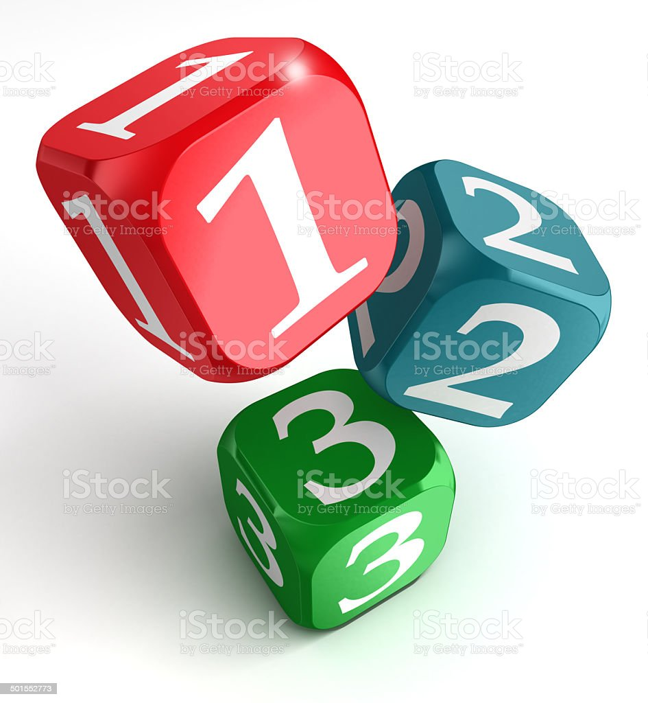 one two three numbers on dice box stock photo