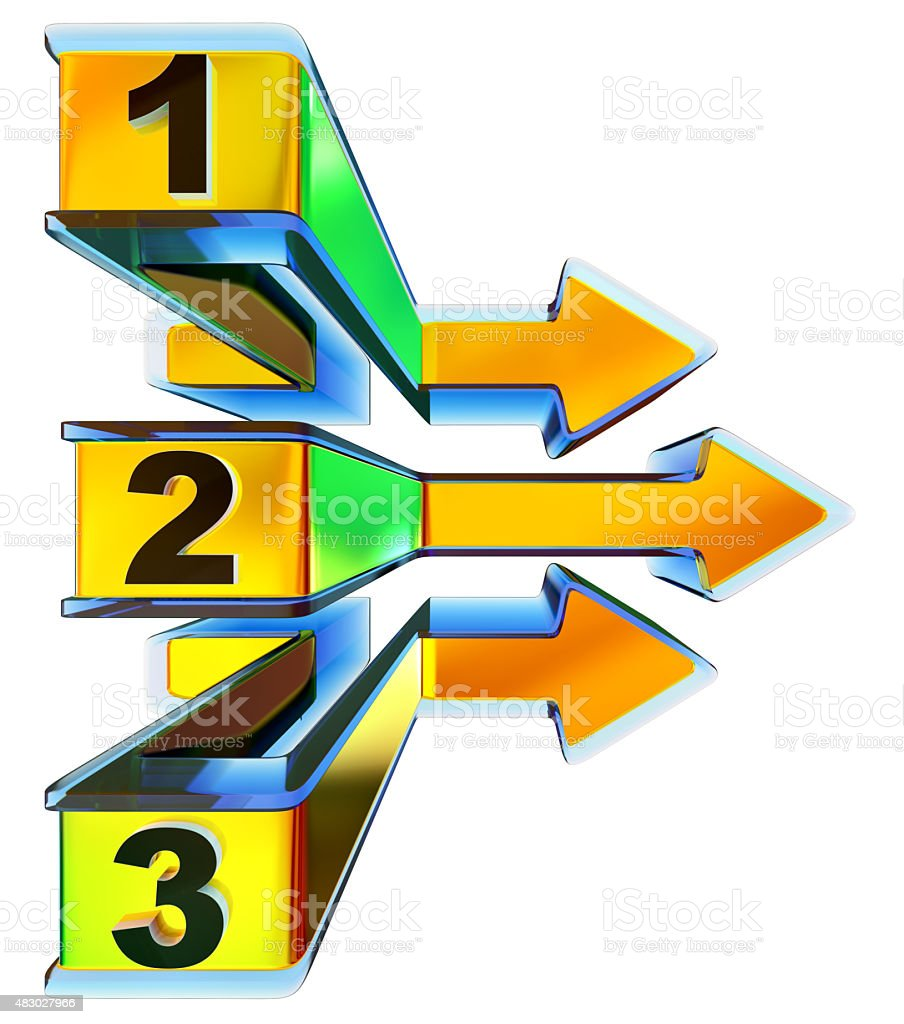 One two three - symbol progress for three steps stock photo