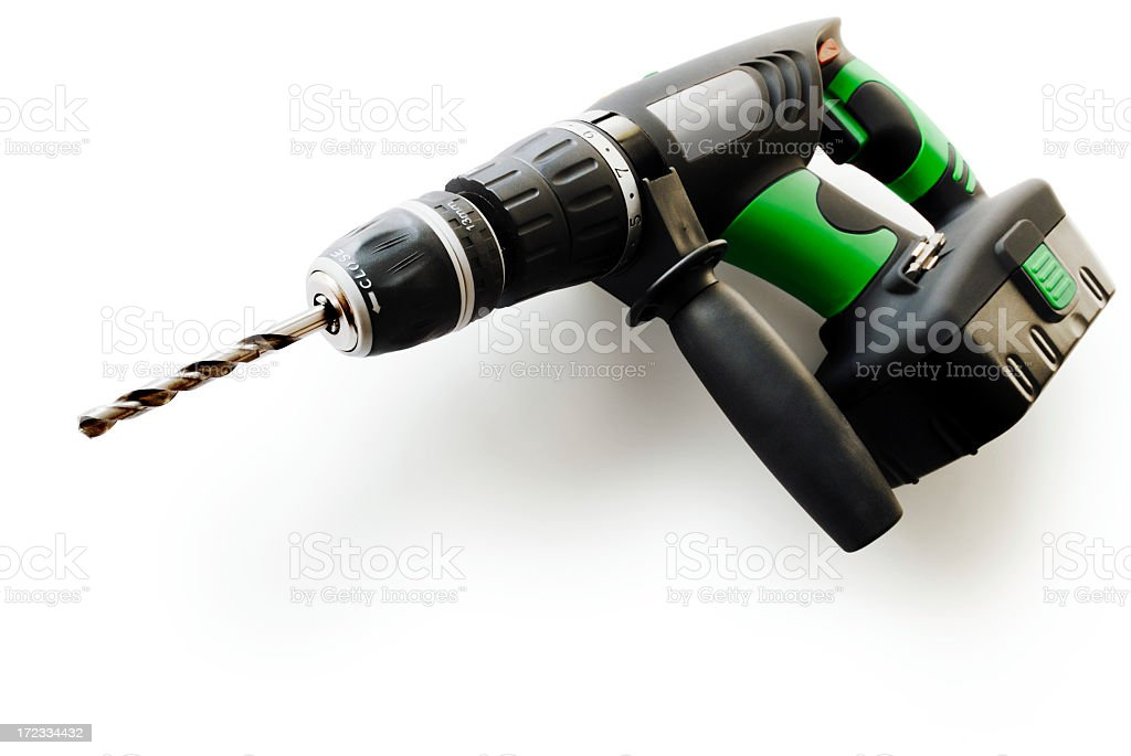 One type of cordless drill in black and green colors royalty-free stock photo