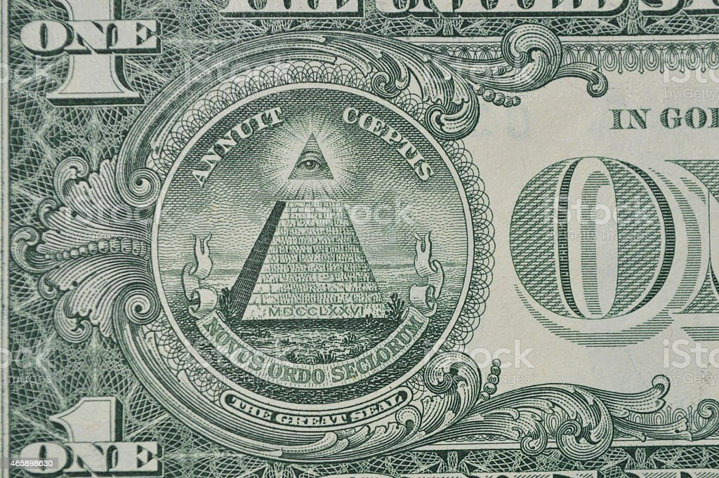 De un dólar billete de banco de los Estados Unidos parte posterior foto de stock libre de derechos
