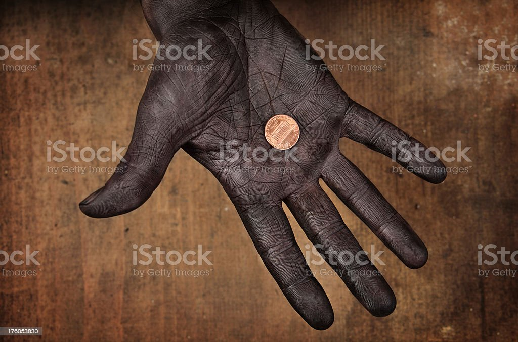 One US Cent Coin in Hand royalty-free stock photo