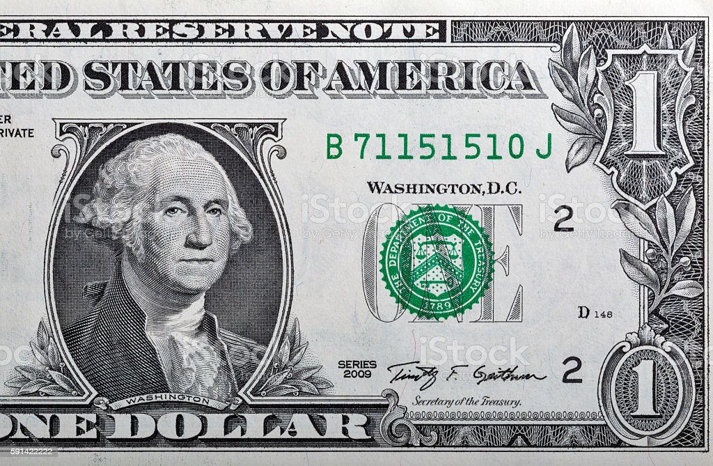 One US dollar banknote closeup stock photo