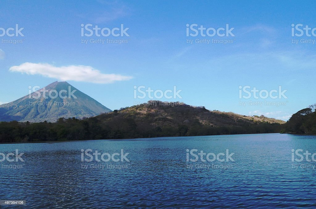 One Volcano with his Pool stock photo
