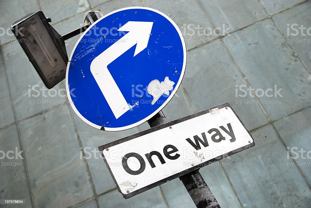 One way arrow sign with copy space royalty-free stock photo
