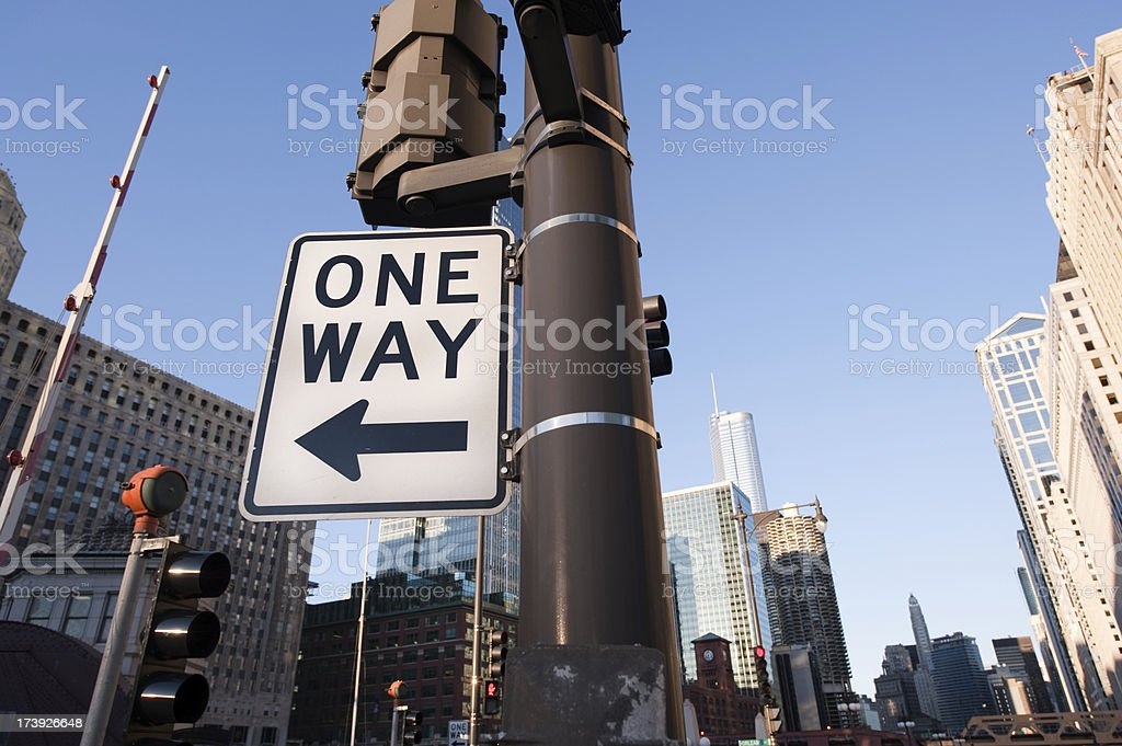 One Way Chicago royalty-free stock photo