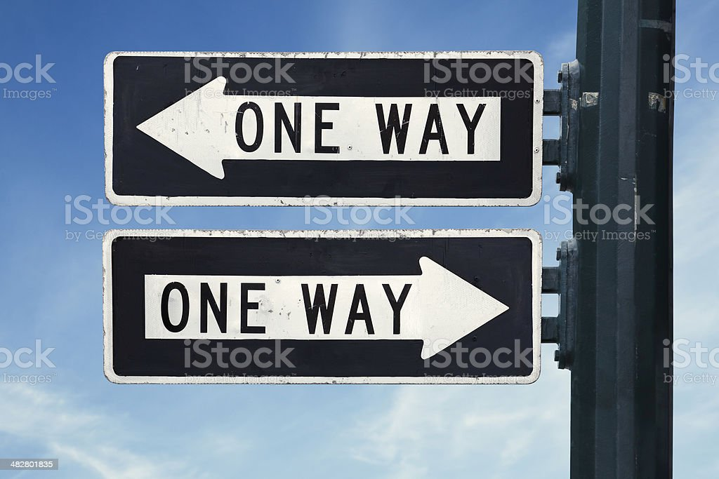 One way confusion stock photo