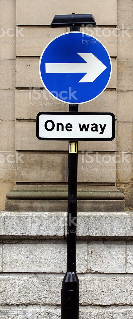 one way directional public sign royalty-free stock photo