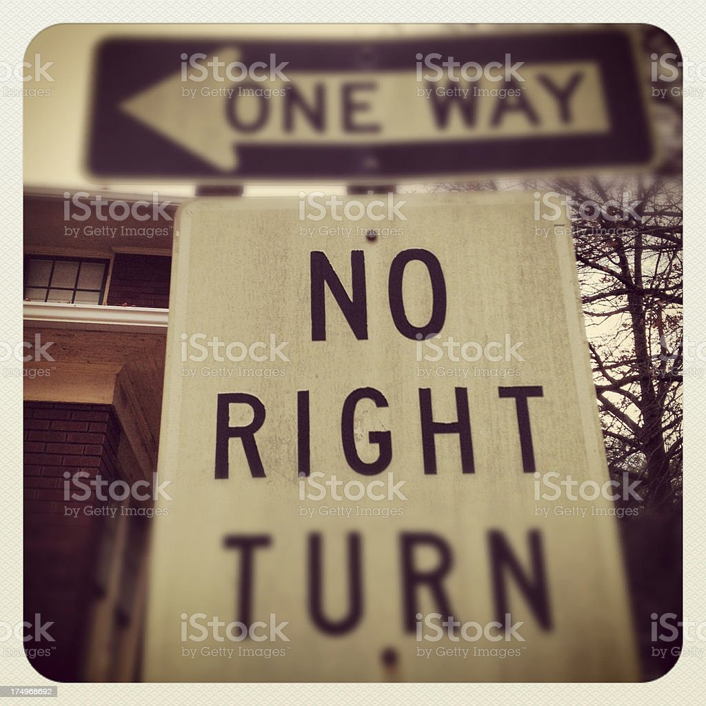 One Way No Right Turn stock photo