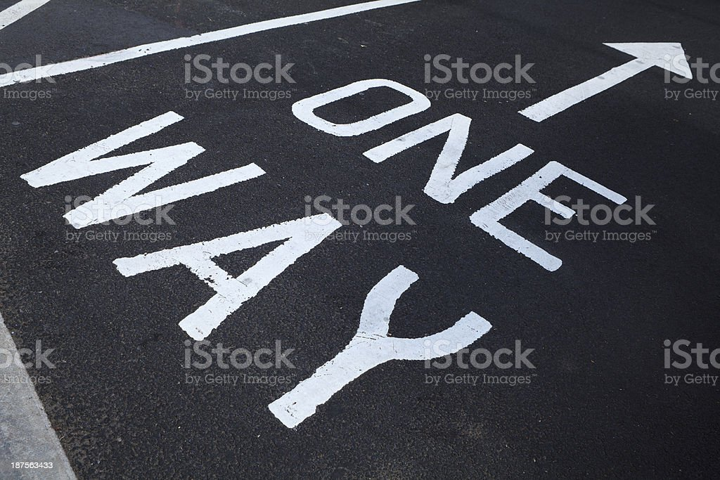one way on asphalt royalty-free stock photo