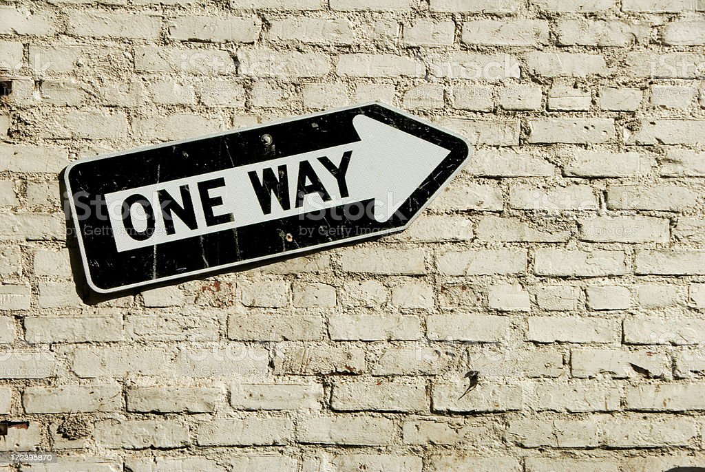One way on wall stock photo