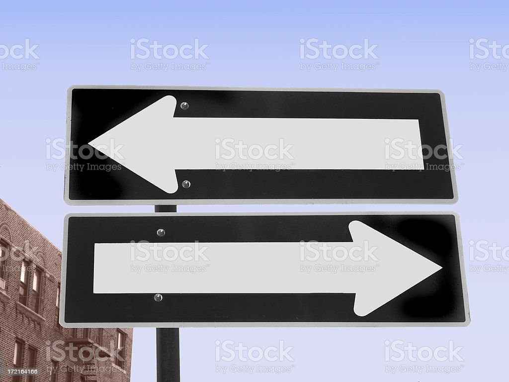 One way or both ways royalty-free stock photo