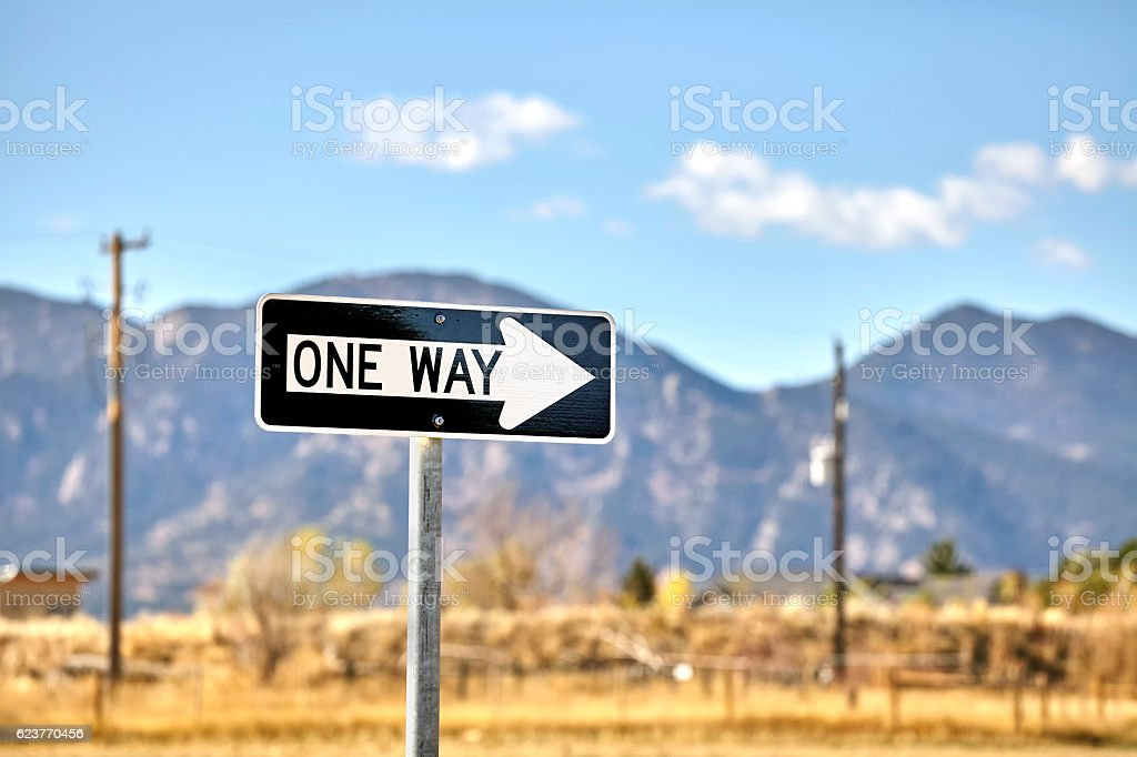One way road sign. stock photo