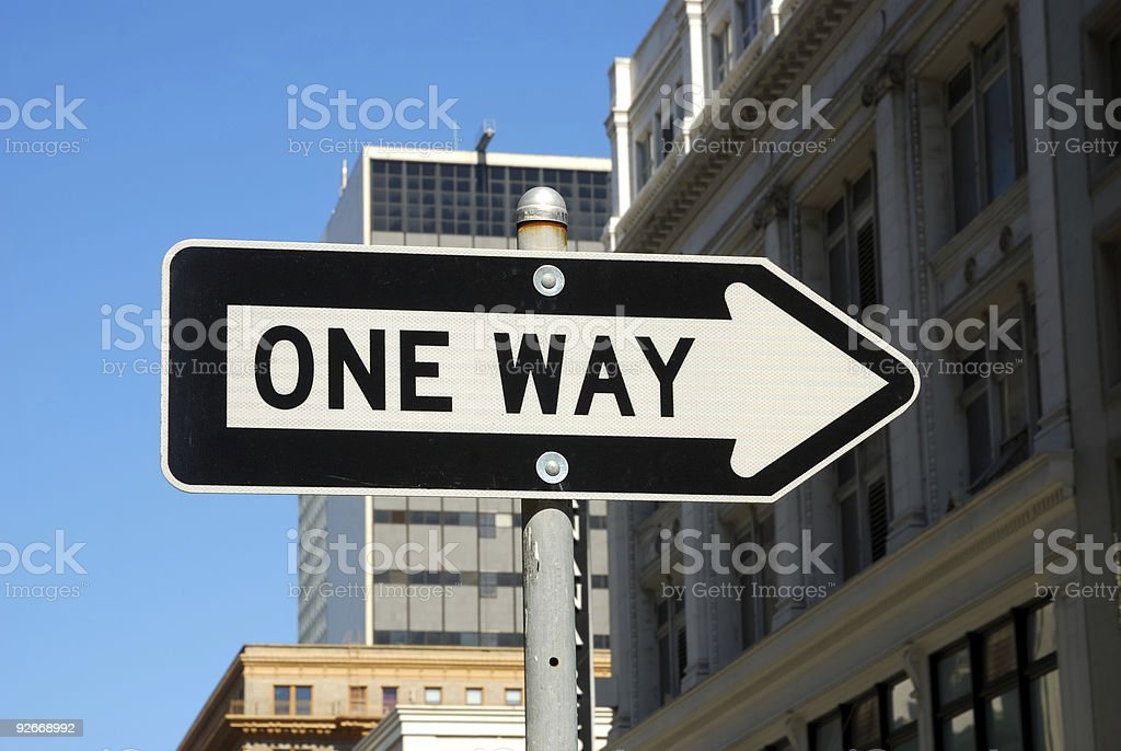 One way road sign stock photo