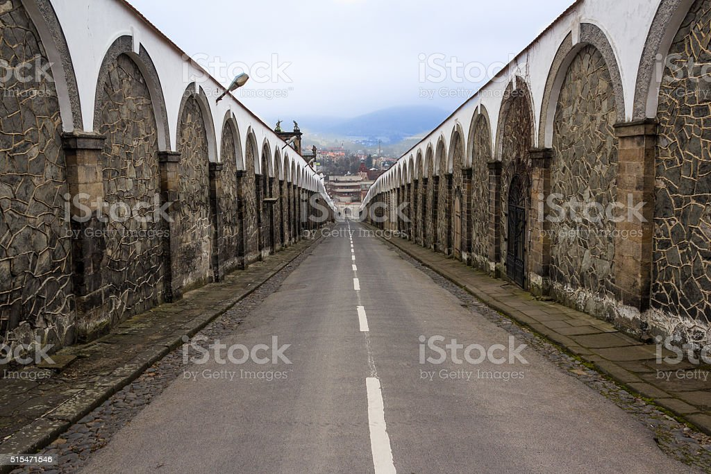 one way road, straight - no choice concept stock photo