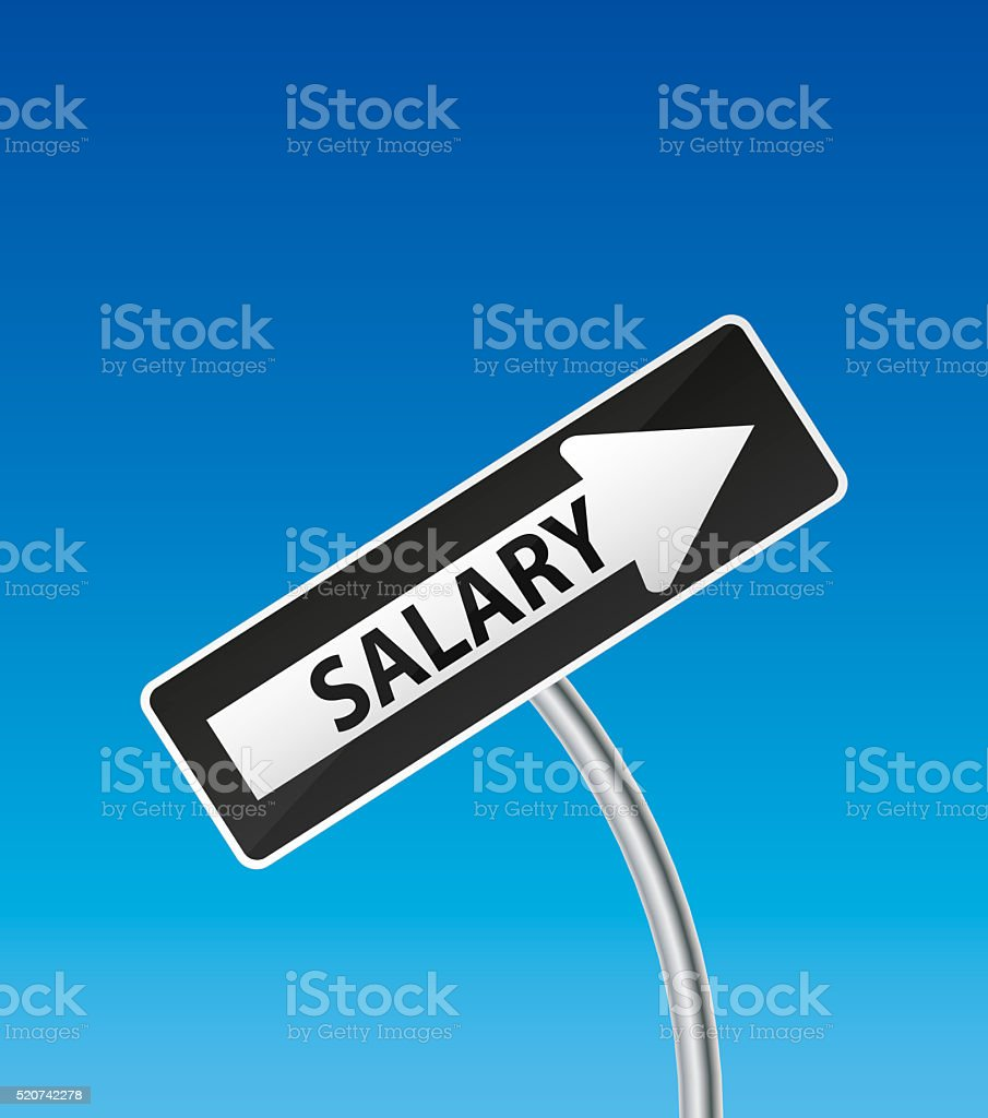 One Way Road Traffic Sign with text salary stock photo