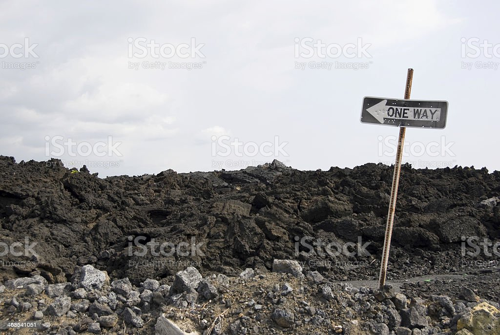 One Way Sign in Lava Field royalty-free stock photo