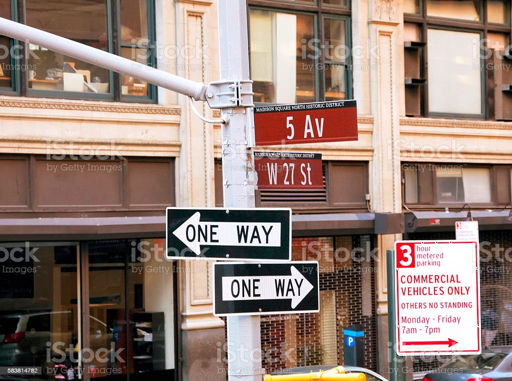 One way sign in New York City stock photo