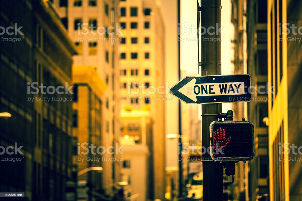 One Way Sign in San Francisco stock photo