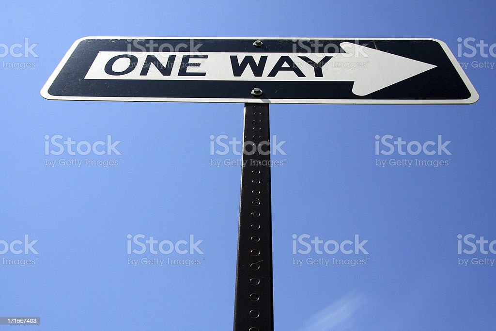 One way sign in sky royalty-free stock photo