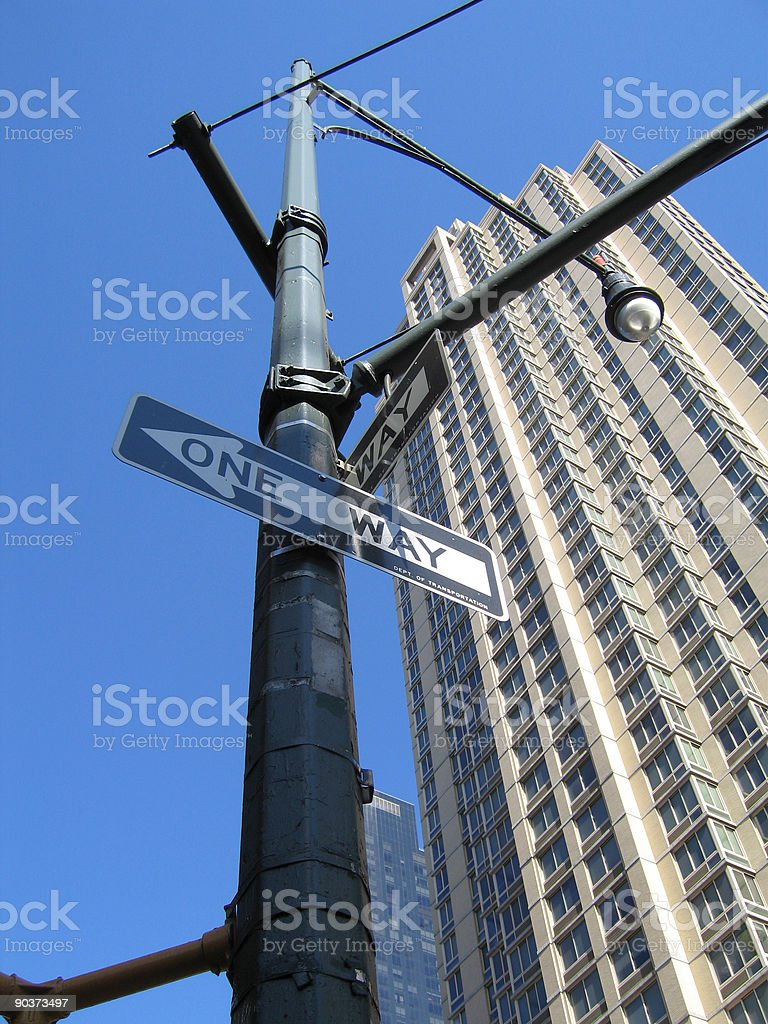 one way sign nyc stock photo