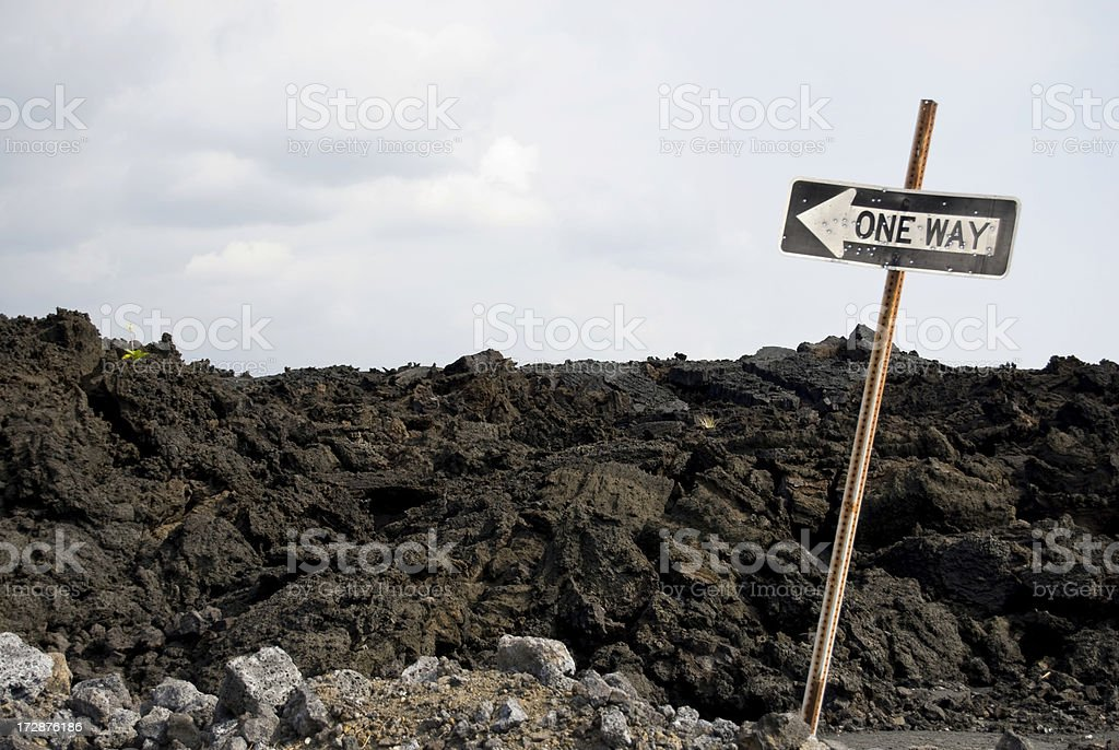 One Way Sign on Lava Field royalty-free stock photo