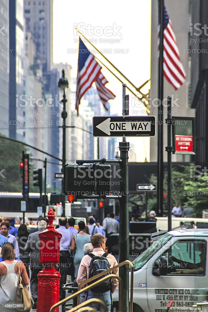 One way sign on Park Avenue, New York royalty-free stock photo