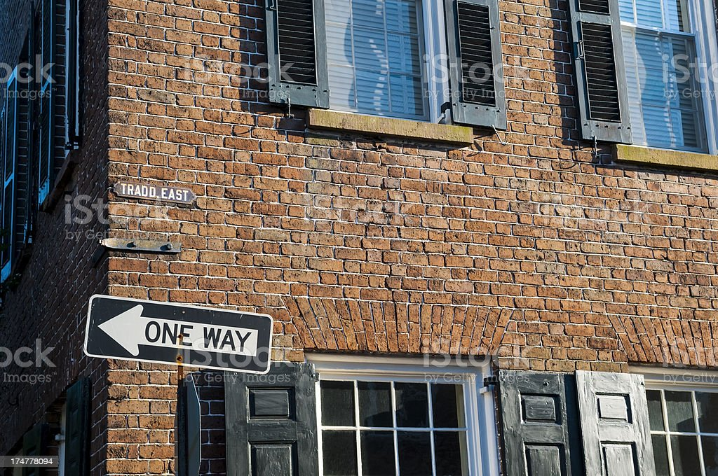 One Way street sign in Charleston royalty-free stock photo
