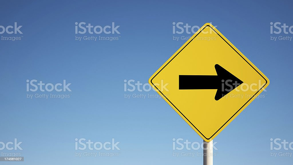 One Way Sign with Clipping Path stock photo