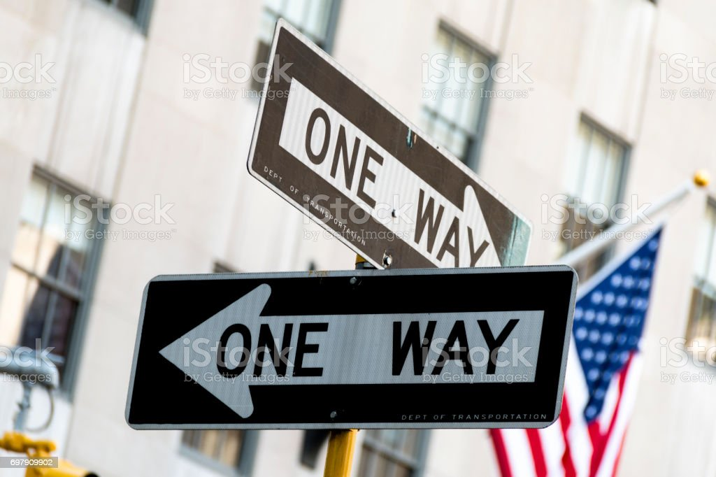 One Way signs, New York stock photo