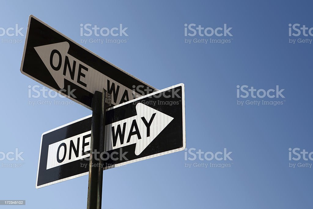 one way signs stock photo