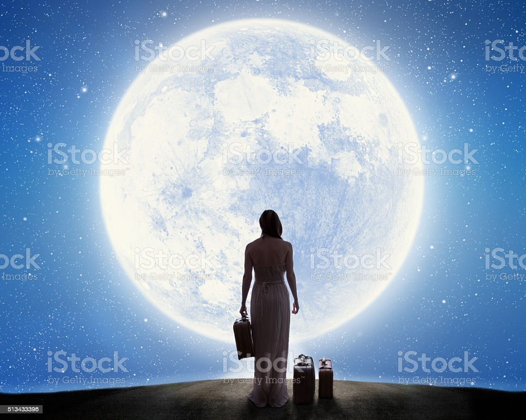 One way ticket to the Moon stock photo