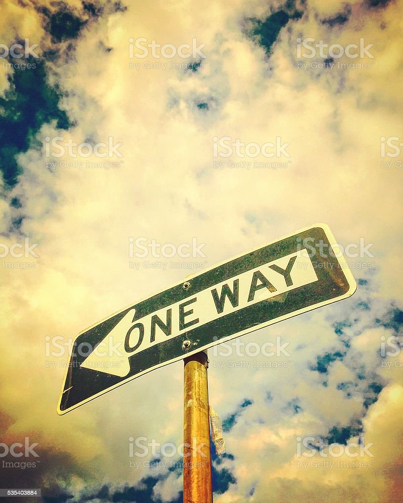 One way traffic sign stock photo