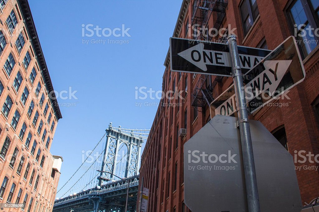 'One way' traffics signs on Dumbo Street stock photo
