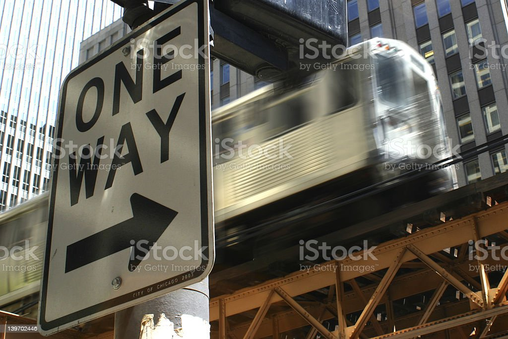 One Way/El Train stock photo
