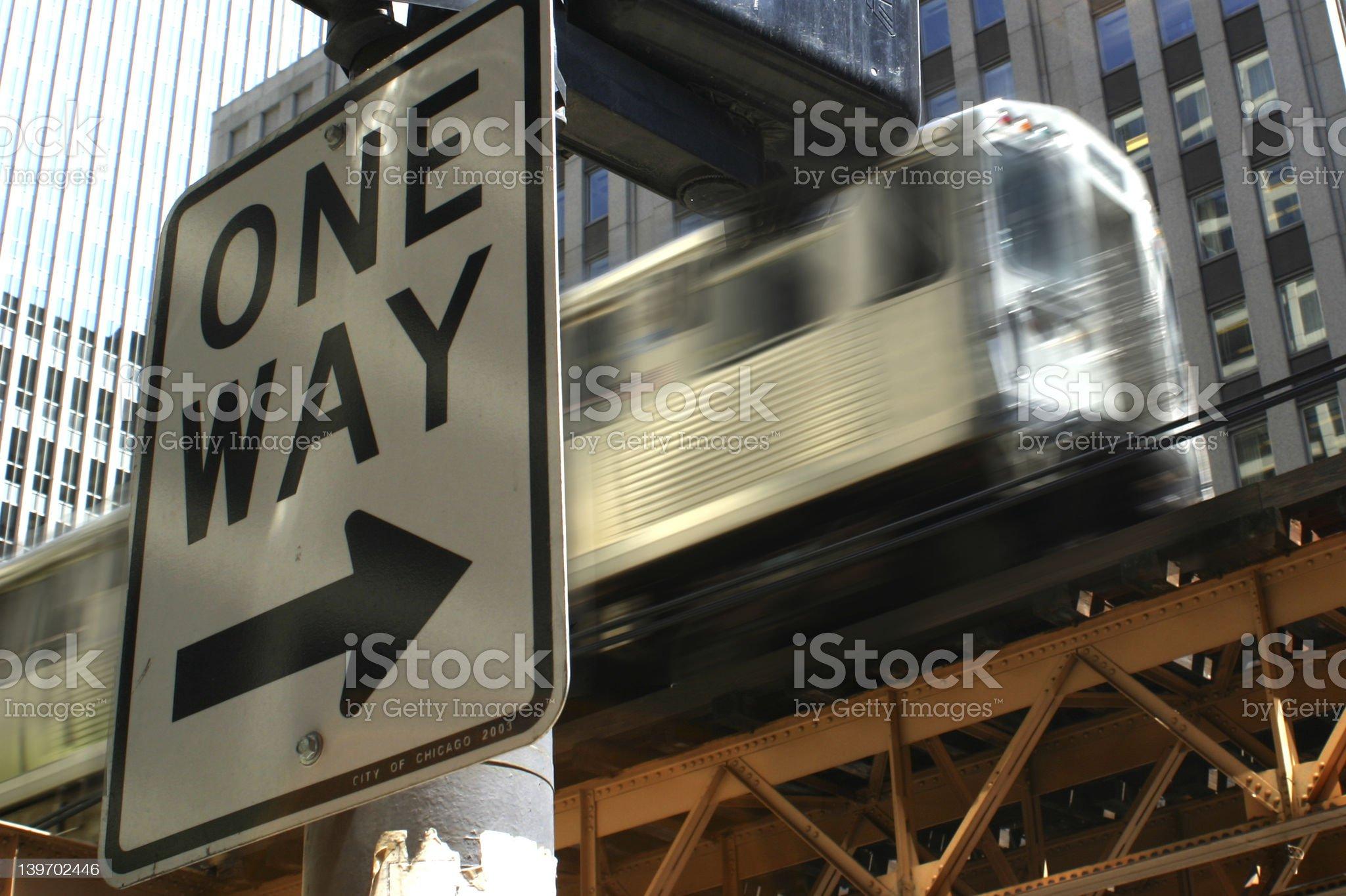 One Way/El Train royalty-free stock photo