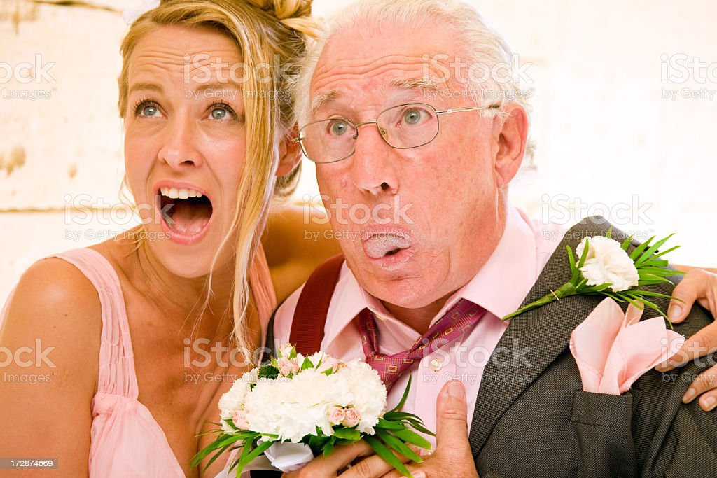 one wedding and a funeral stock photo