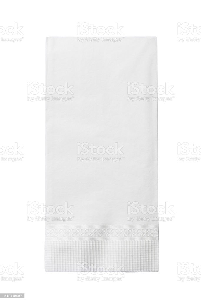 One White Paper Napkin Isolated on White Background stock photo