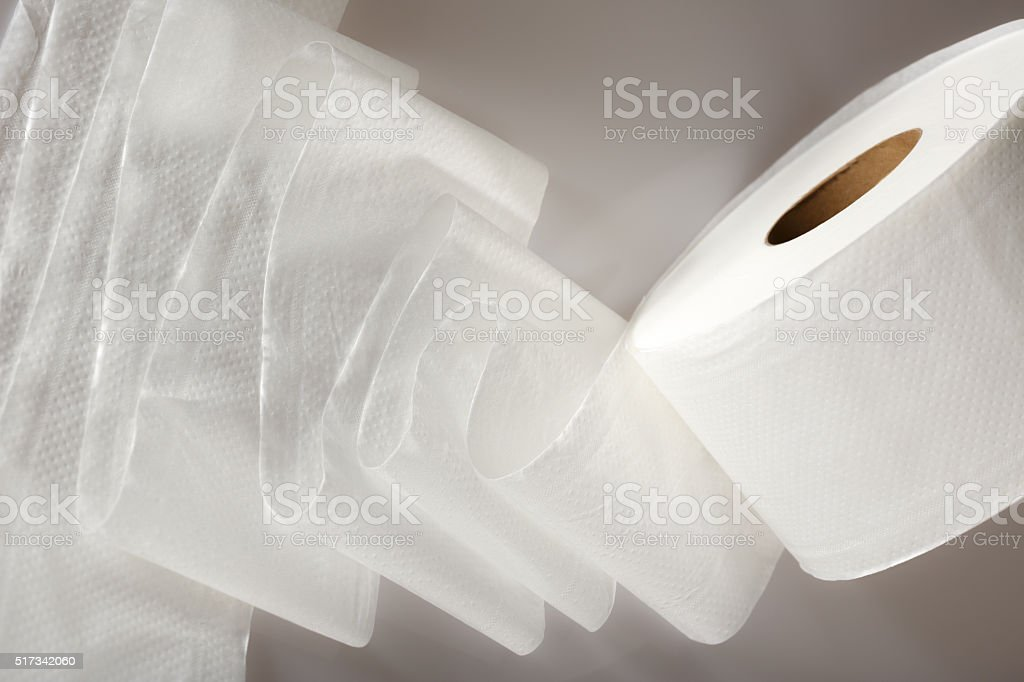 One white toilet paper roll stock photo