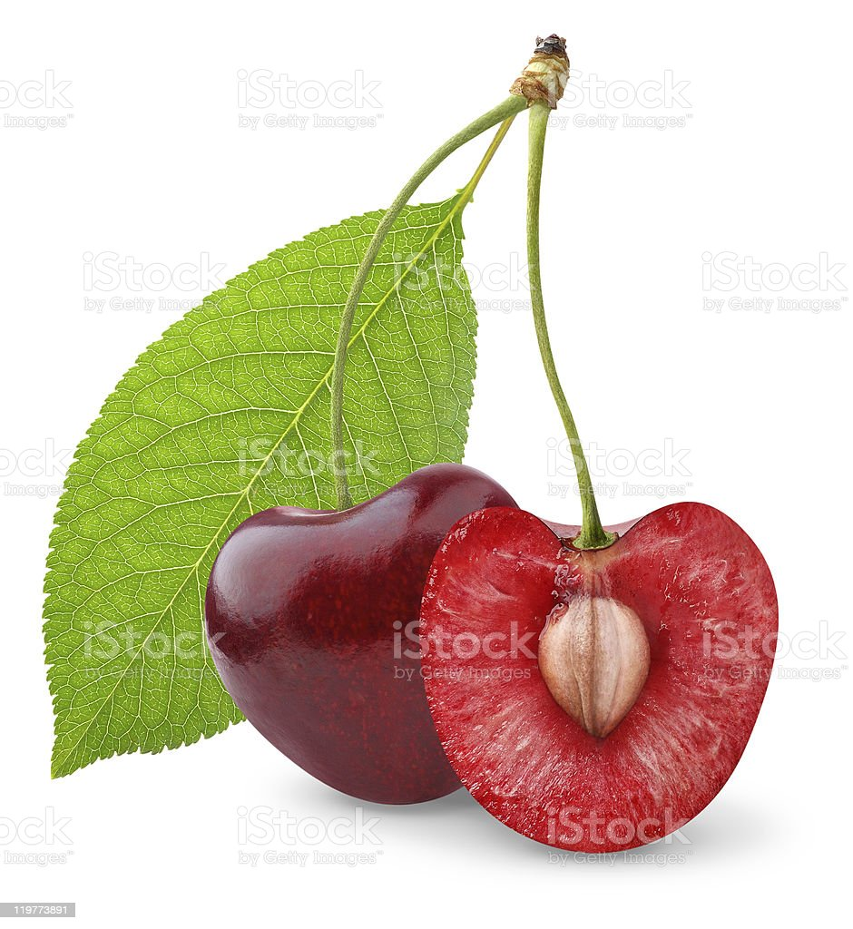 One whole and one half cherry with leaf on white background royalty-free stock photo