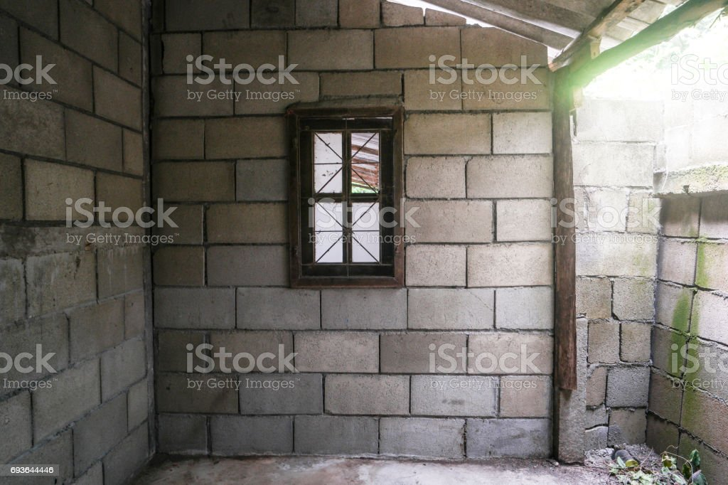 One window in the old room. stock photo